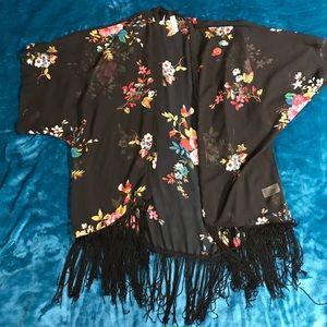 Black Floral Fringe Kimono